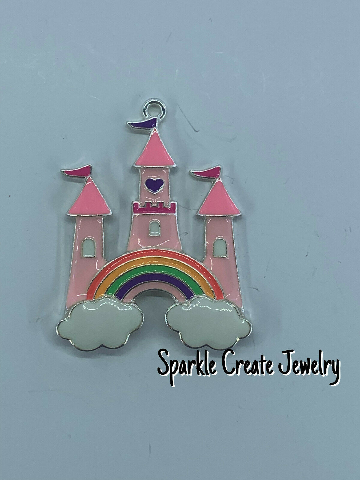 Pink Princess Castle Enamel Pendant