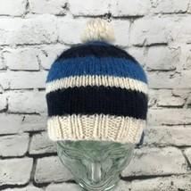 Burton Snowboards Unisex Hat Black Blue Striped Pom-Pom Beanie Wool Cap ... - $9.89