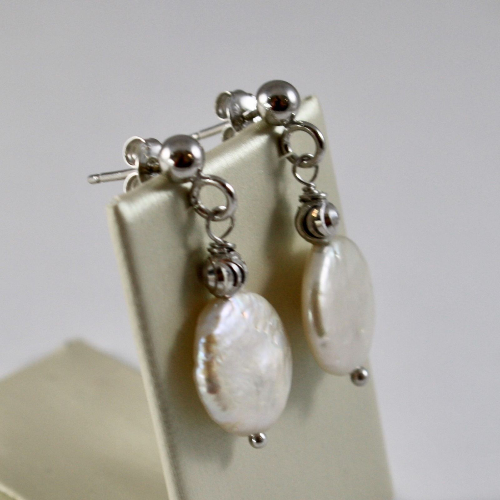 EARRINGS SILVER 925 WITH BEADS FACETED AND PEARLS FLAT WHITE