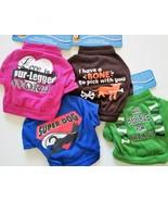 "DOG SHIRTS Set of 4 Small Pet Tshirt Green Blue Brown Pink 7"" neck Love ... - $14.99"