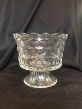 Vintage Indiana Glass Whitehall Cubist Clear Footed Compote Trifle Bowl ... - $13.99