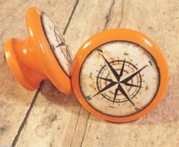 "2 Handmade Nautical Knobs, Orange Drawer Pulls, 1.5"" Antique Style Compass Knobs - $11.88"