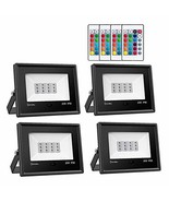 Onforu 4 Pack 20W RGB LED Flood Lights with Remote Control, (20w Rgb- 4p... - $85.23