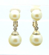 CELEBRITY Light Cream Faux Pearl Gold Tone Drop Clip-On Earrings Vintage - $13.86