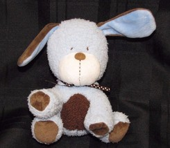 """Carters Lovey Security Plush Puppy Dog Rattle Boy Blue Brown White Bow Dots 7"""" - $23.50"""