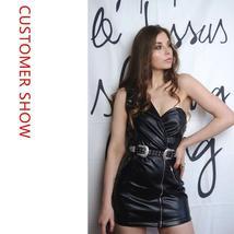 Faux Leather One Shoulder Biker Coat Style Black Vinyl Club Dress image 2