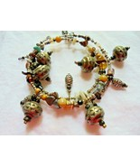 Boho Tribal Wire Wrapped Coil Earth Tone and Metal Beads ,Stones, Shell, - $5.00