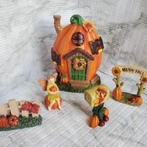 Fall Fairy Garden Set, Pumpkin Fairy House, Tiny Gnome Hut, Autumn Fairy Decor image 2