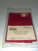 "Raymer cross stitch fabric 14 count aida 1 pc 12"" x 12"" RED - $2.90"