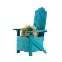 Wooden Planters, Patio Unique Rustic Blue Adirondack Chair Planter Decor... - $73.06 CAD