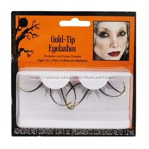 HALLOWEEN* 1 Pair Eyelashes #14475 GOLD-TIP+BLACK False Eye Lashes NEW! ... - $3.56