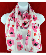 Love Hearts Womens Scarf Romantic Valentines Day Striped Rectangle White Scarves - $15.79