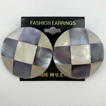 Vintage Round Mosaic Mother Of Pearl Style Earrings Luminous Translucent... - $11.10