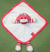 Baby Starters Plush Pink Sock Monkey Striped Rattle Striped Security Bla... - $14.01