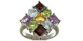 Vintage Size 7.25 Sterling Silver Multi Color Gemstone Fashion Ring No 2137