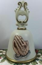 Homco Vintage 80s Religious Christian Praying Hands Porcelain Bell - $14.36