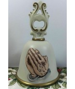Homco Vintage 80s Religious Christian Praying Hands Porcelain Bell - $14.36