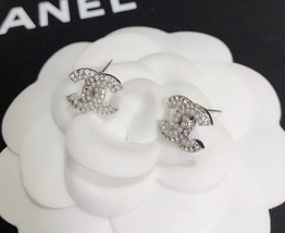 SALE***Authentic Chanel CC Logo Crystal Strass Silver Stud Earrings  image 6