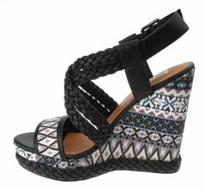 Not Rated Monaco Tribal Native American Print Braided Wedge Open Toed Sandal 8.5 image 4