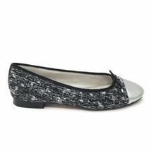 Sam Edelman Womens Size 8 Sara Ballet Flats Round Cap Toe Tweed Black Silver - $42.06