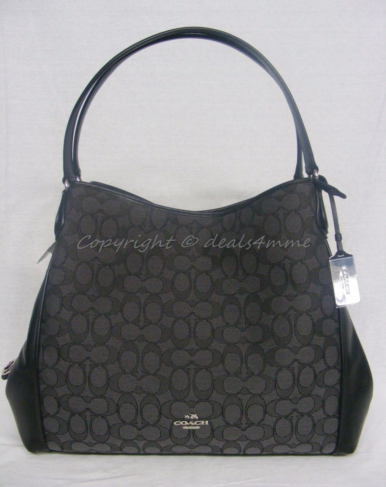 S l1600. S l1600. Previous. NWT Coach 33523 Edie Shoulder Bag In Signature  Jacquard Silver Black Smoke Black 14ed059af1518