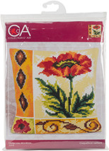 Collection D'Art Stamped Needlepoint Cushion Kit 40X40cm-Coquelicot Vail... - $25.49