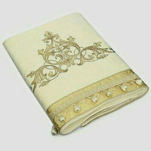 "Avanti Monaco Bath Towel Embroidered Beaded Beautiful Ivory 100% Cotton 25""x50"" - $54.43"