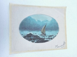 Vintage Hand Painted Sail Boat Needlepoint Canvas Oval Boat Ocean Clouds - $41.86