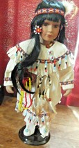 Heritage House Collection Porcelain American Indian Doll With Stand - $18.49