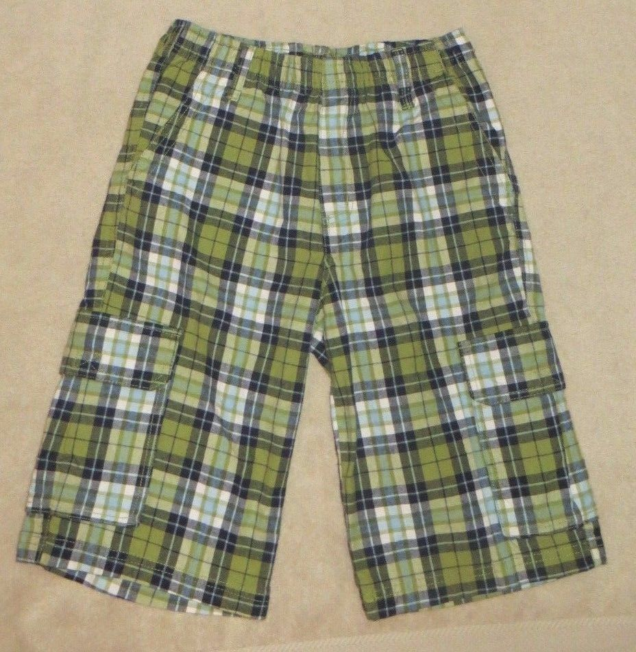 Primary image for NWT Crazy 8 Green Navy White Plaid Cargo Shorts Size 12