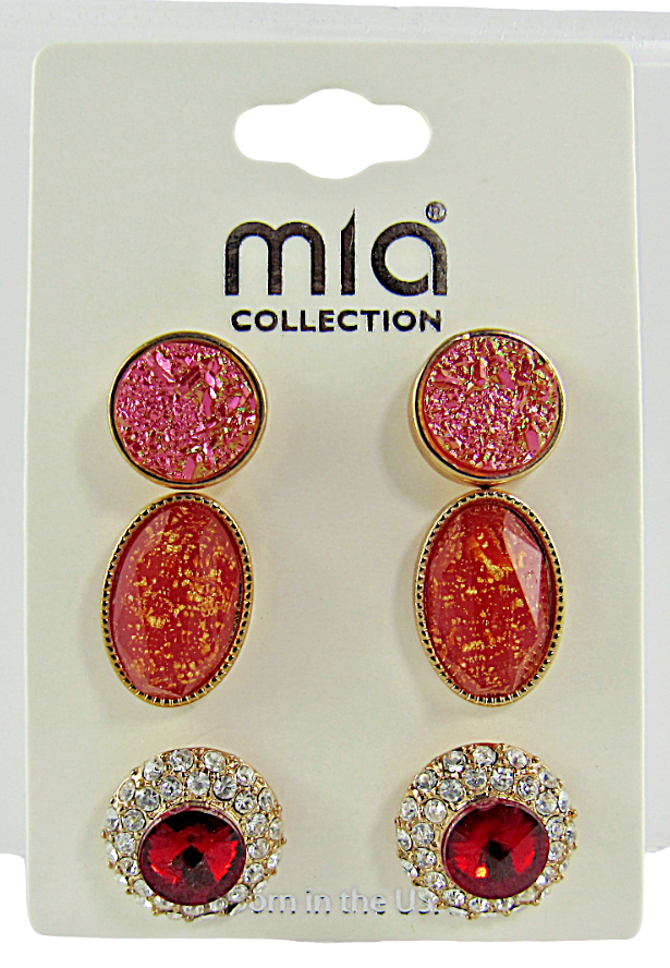 Primary image for Mia Collection Fashion Jewelry Faux Ruby Pink Deep Peach Set of 3 - Lot of 12