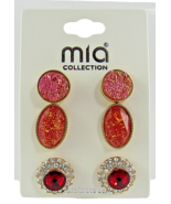 Mia Collection Fashion Jewelry Faux Ruby Pink Deep Peach Set of 3 - Lot ... - $32.74