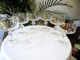 Set of 6 Cris D'Arques Vendome Taille Lance Champagne Glasses - $29.70