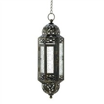 Victorian Clear Glass Metal Hanging Candle Lantern - $14.29