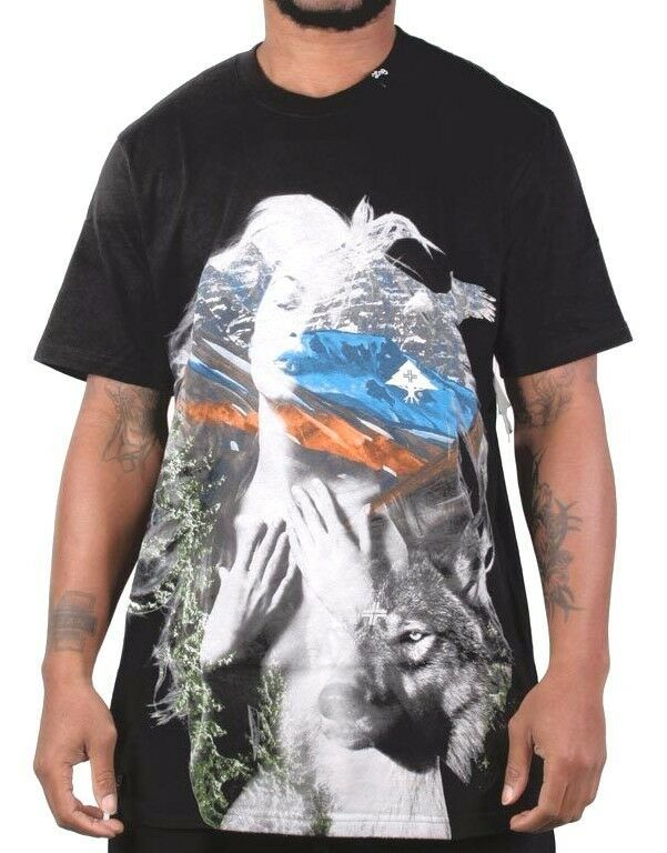 LRG Lifted Research Group Men's Black Nature Woman Wolf T-Shirt L141031 NWT