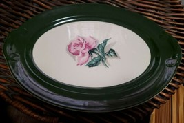 "Taylor Smith Oval Dark Green Band Rose Center Platter 13 3/8"" - $11.88"