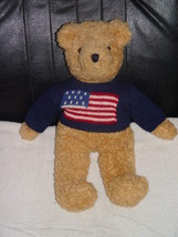 """Ty 1990 Patriot Brown Bear 17"""" Tall  Retired American Flag Blue Sweater - $144.00"""