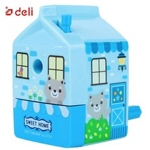 Deli®  Pencil Sharpener Happy House Hand Roll Cute Sharpener Student Sta... - $12.58