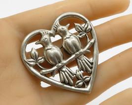 Norseland By Coro 925 Silver - Vintage Love Birds & Heart Brooch Pin - BP1500 - $39.42