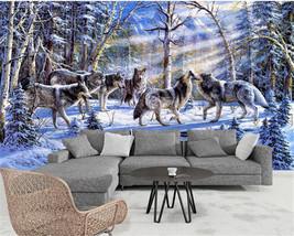 Beibehang Custom mural snow Wolves animal background wallpaper for walls - $35.95