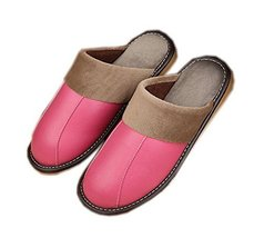 PANDA SUPERSTORE Pink Patchwork Leather Indoor Slippers for Women, US 6.5-7