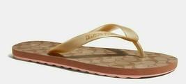 COACH Size 7 Women's Zak Flip Flop Gold Signature Rubber Slides FG3434 New - $49.00