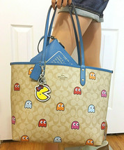 COACH Pac-Man Ghosts Tote Bag, Wristlet Pouch & Ms Pacman Keychain Set NWT - $265.32