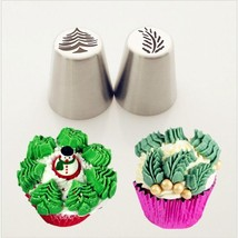 2PCS Christmas Tree Icing Piping Tips Special Russian Leaf Nozzle Bakewa... - ₨1,176.69 INR