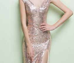 ROSE GOLD Sequin Maxi Dress Mermaid Slit Maxi Sequin Dress Plus Size Sequin Gown image 2