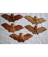 Copper Color Metal BATS Old Vintage NOS Life Like Looking 5 pcs Hallowee... - $6.00