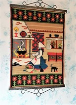 30 in HAND EMBROIDERED Swedish Tapestry Folk Art 1960s - $63.00
