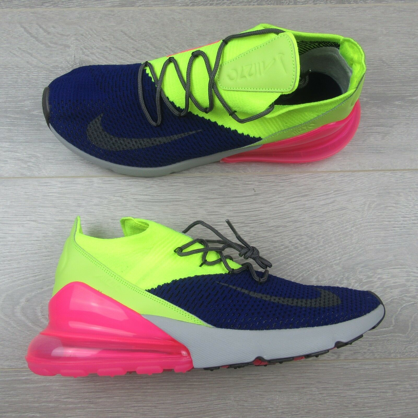 a2282e4c49b5 Nike Air Max 270 Flyknit Regency Purple Grey Volt AO1023 501 Mens Size 13  New