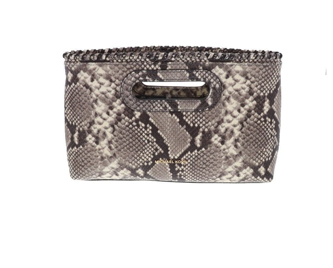 20456a35a062 57. 57. Michael Kors Rosalie Womens Embossed Leather LG Clutch Purse Chain  NATURAL NEW ...