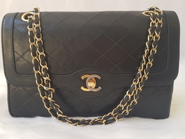 "Authentic Chanel Vintage 2 tone Medium 10"" Lambskin Double Flap Black Bag - $1,370.94"